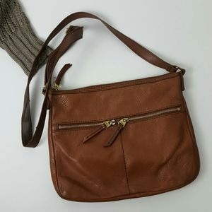 Fossil brown leather crossbody purse zipper top